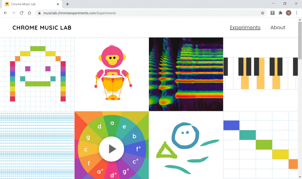 Site do Chrome Music Lab